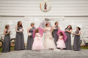 One-Shoulder Gray Chiffon Bridesmaid Dresses
