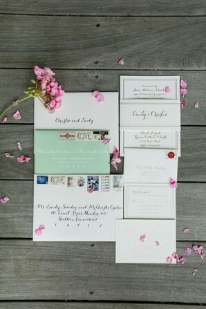 Invitation Suite with Gold Calligraphy and Mint Envelope