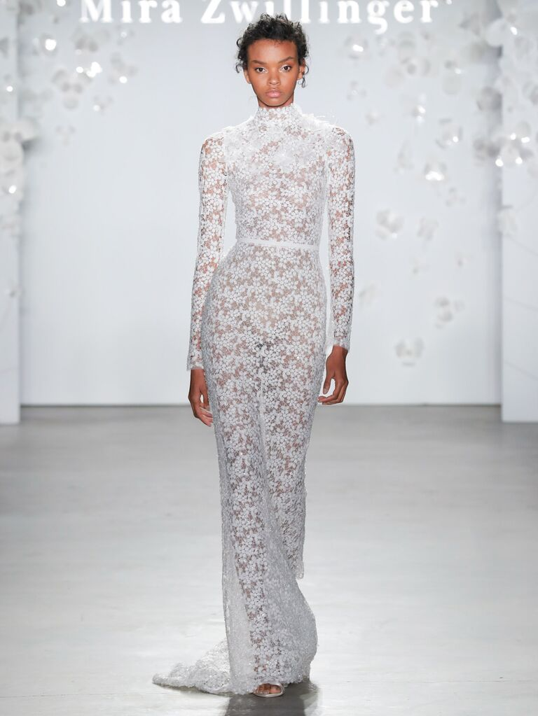 Mira Zwillinger Spring 2020 Bridal Collection floral lace wedding dress with a high neck and long sleeves