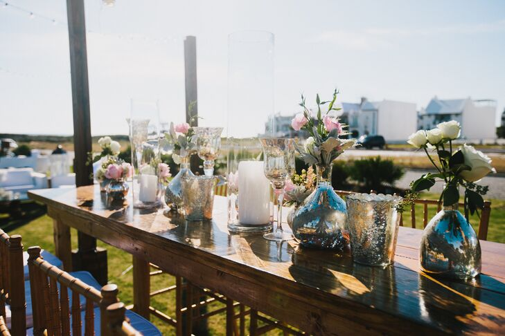 Rose Centerpieces in Silver Bulb Vases