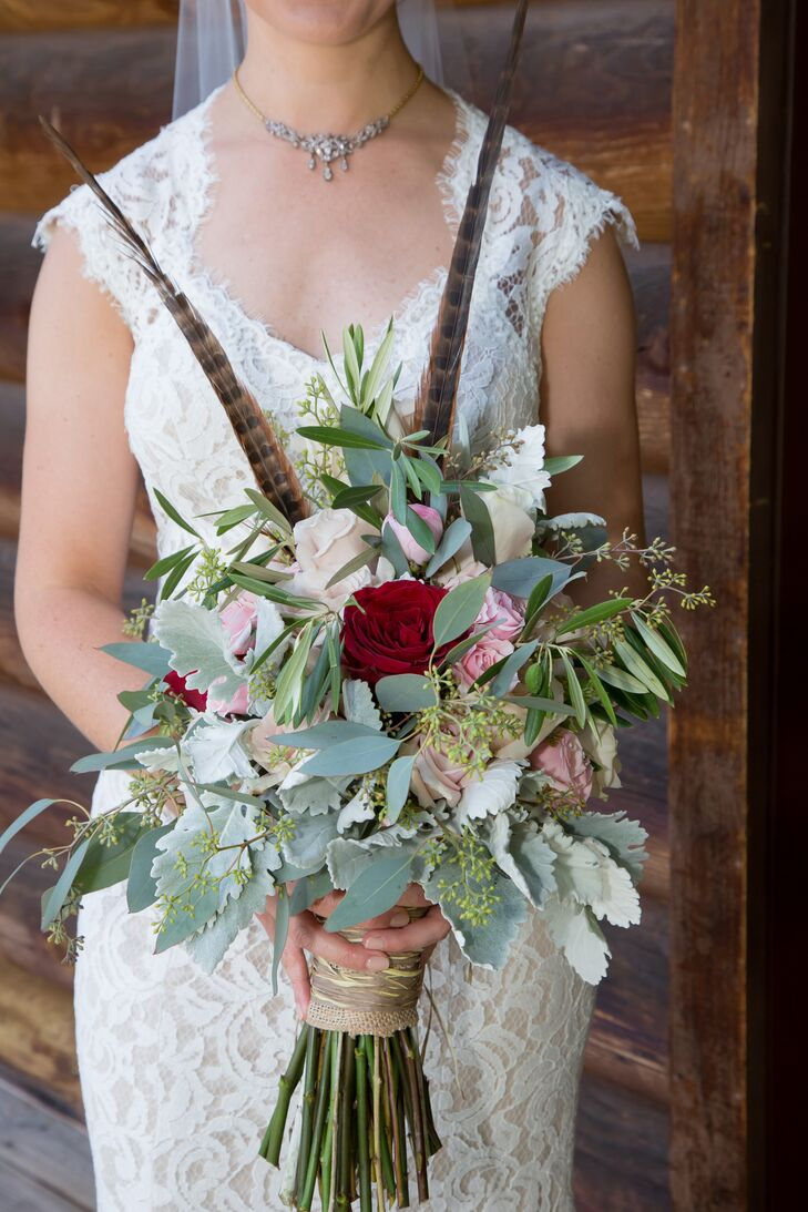 Eucalyptus, Dusty Miller and Rose Bouquet