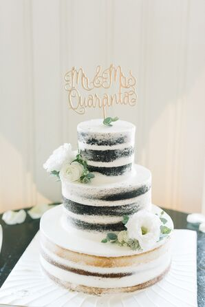 Rustic Naked Cake with Gold Calligraphy Cake Topper