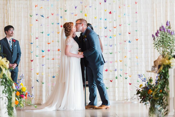Ceremony with Colorful Paper Crane Backdrop