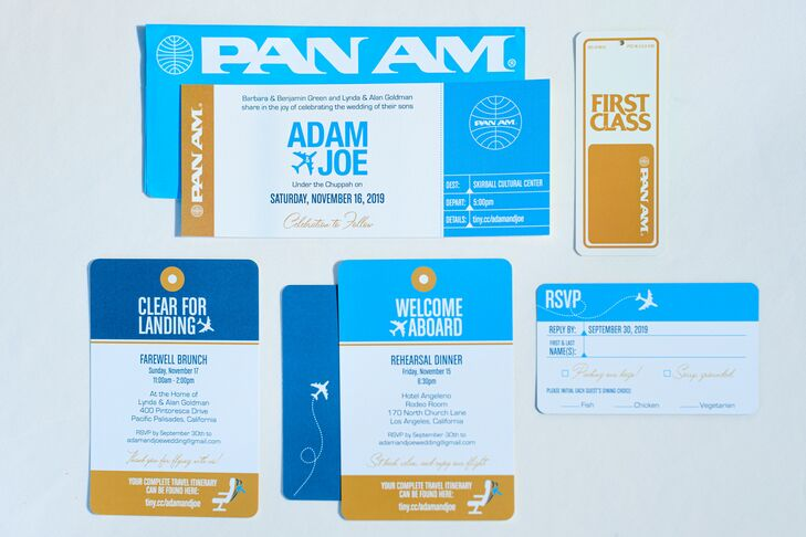 Modern Blue and Gold Wedding Invitations and Typography