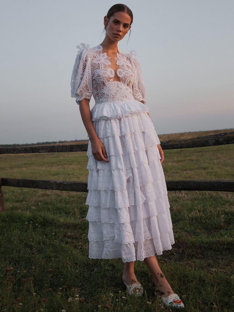Lace Tea-Length Wedding Dress