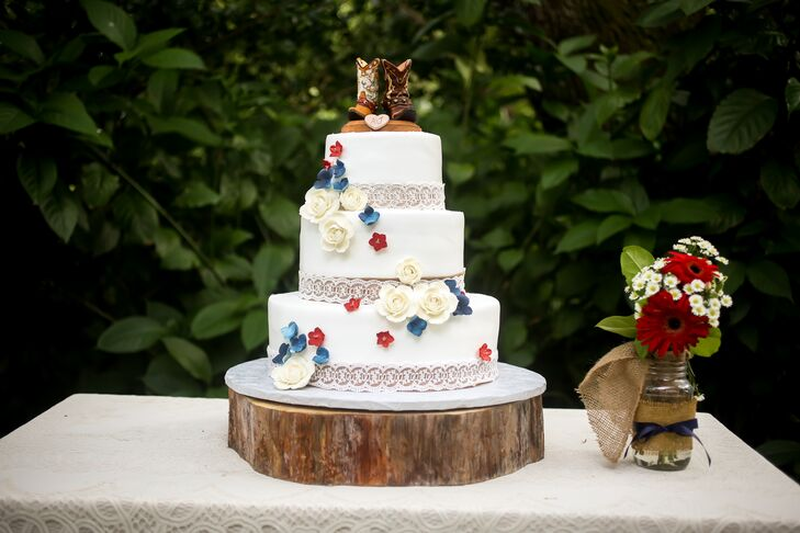 Red White And Blue Flower Wedding Cake