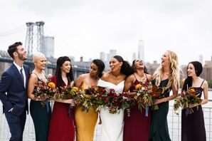 Modern Bridesmaids Wearing Jewel-Tone Dresses