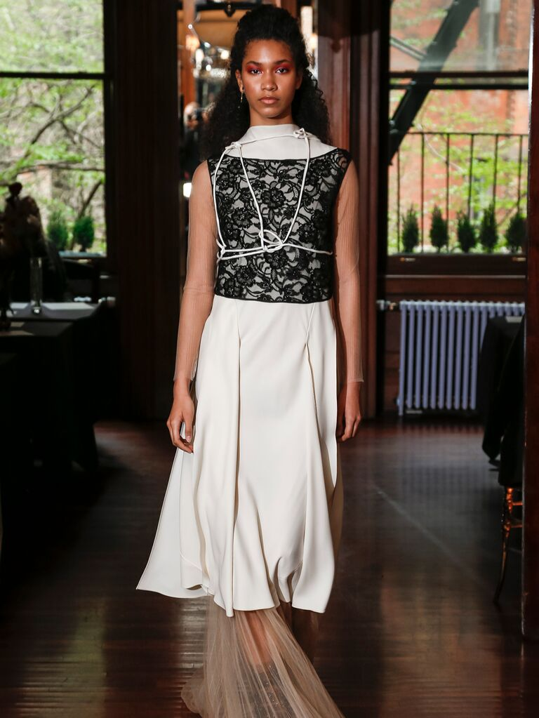 Monica Byrne Spring 2020 Bridal Collection off-white bridal look with black lace overlay
