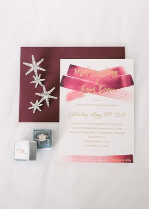 Burgundy Watercolor and Gold Invitations