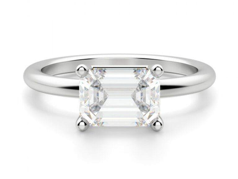 East-west emerald-cut engagement ring