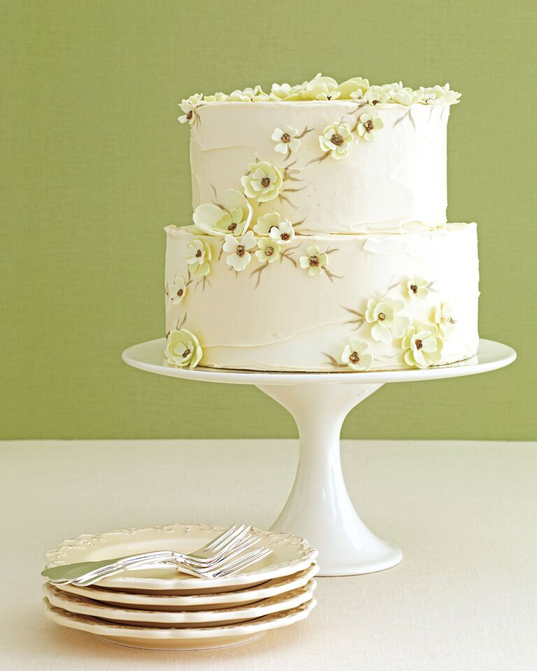 Pale green sugar flowers on white bridal shower cake