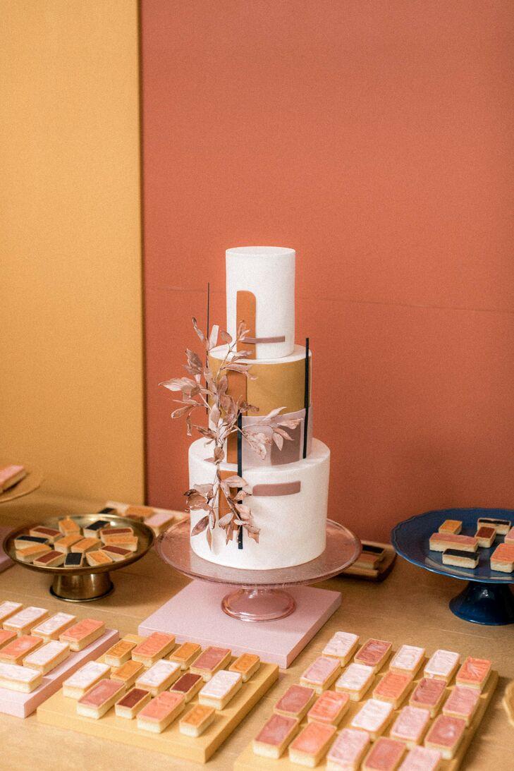 Modern, Bohemian Fondant Wedding Cake with Gold Details