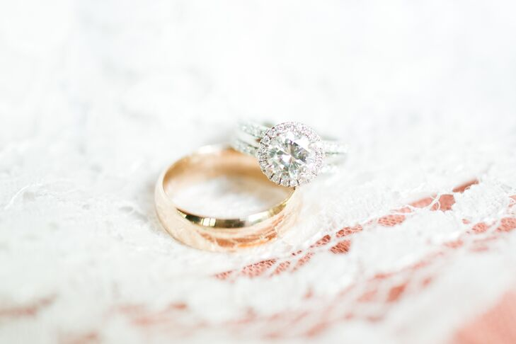Matt proposed with a repurposed halo diamond that he had set on a plain band purchased at a local jewelry store. Matt found the diamond in South Carolina and had Jamie's parents ship it to South Dakota so he could create the perfect custom ring.