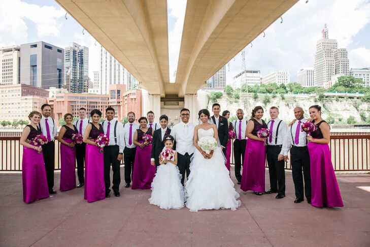 Dessy Purple And Black Bridesmaid Dresses