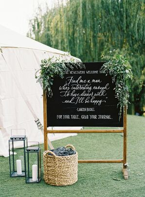 Chalkboard Sign with Quote  for Napa Valley Wedding