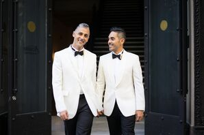 Grooms in White Dinner Jackets with Black Bow Ties