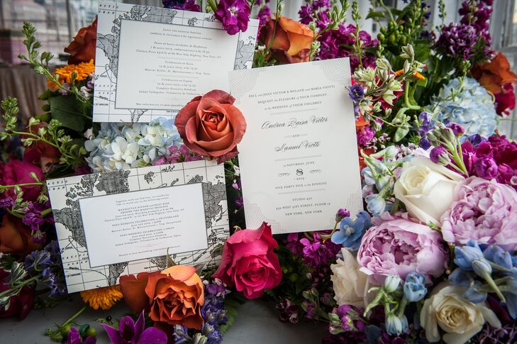 The couple ordered invitations from minted.com using the Splendorous wedding suite. They had invitations printed in English, Spanish and German and invited guests to their boat ride rehearsal dinner, Spain reception and Switzerland reception as well as the New York City celebration.