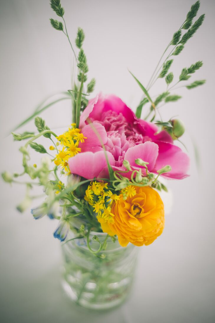Pink Peony and Ranunculus Centerpieces