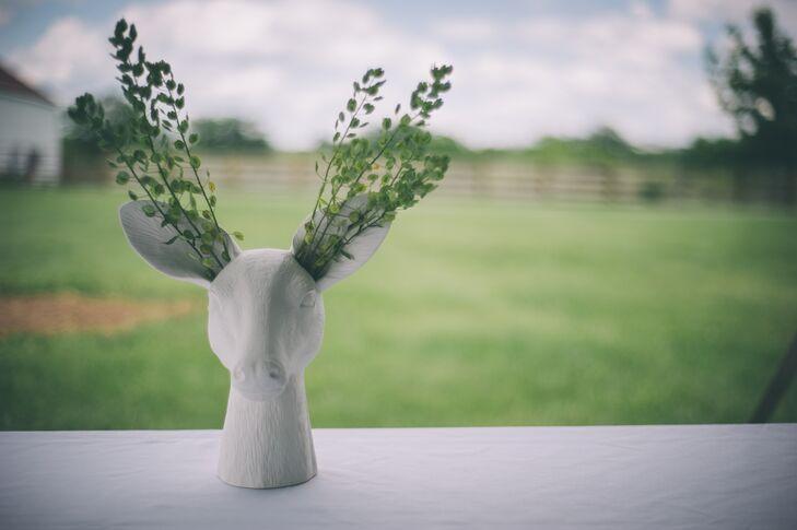 White Ceramic Deer Head Vase