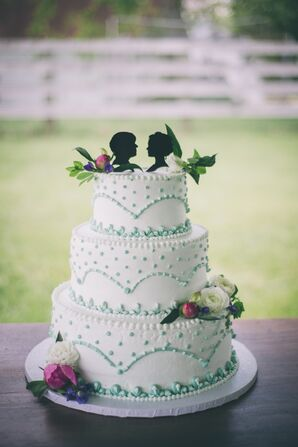 Buttercream Wedding Cake with Silhouette Topper