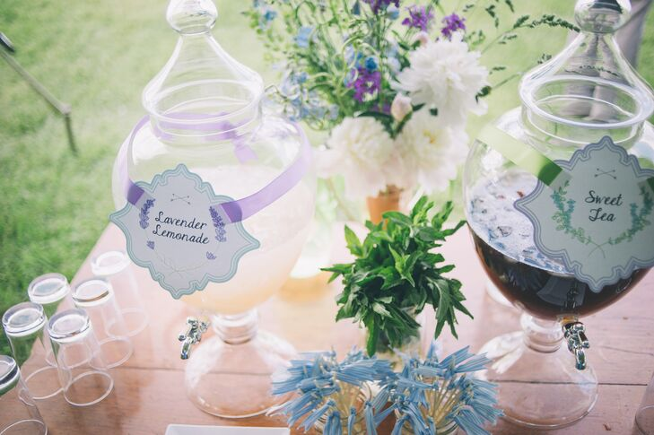 Guests enjoyed Lavender Lemonade and Sweet Tea, displayed in large apothecary drink dispensers and topped off with handmade decorative drink flags.
