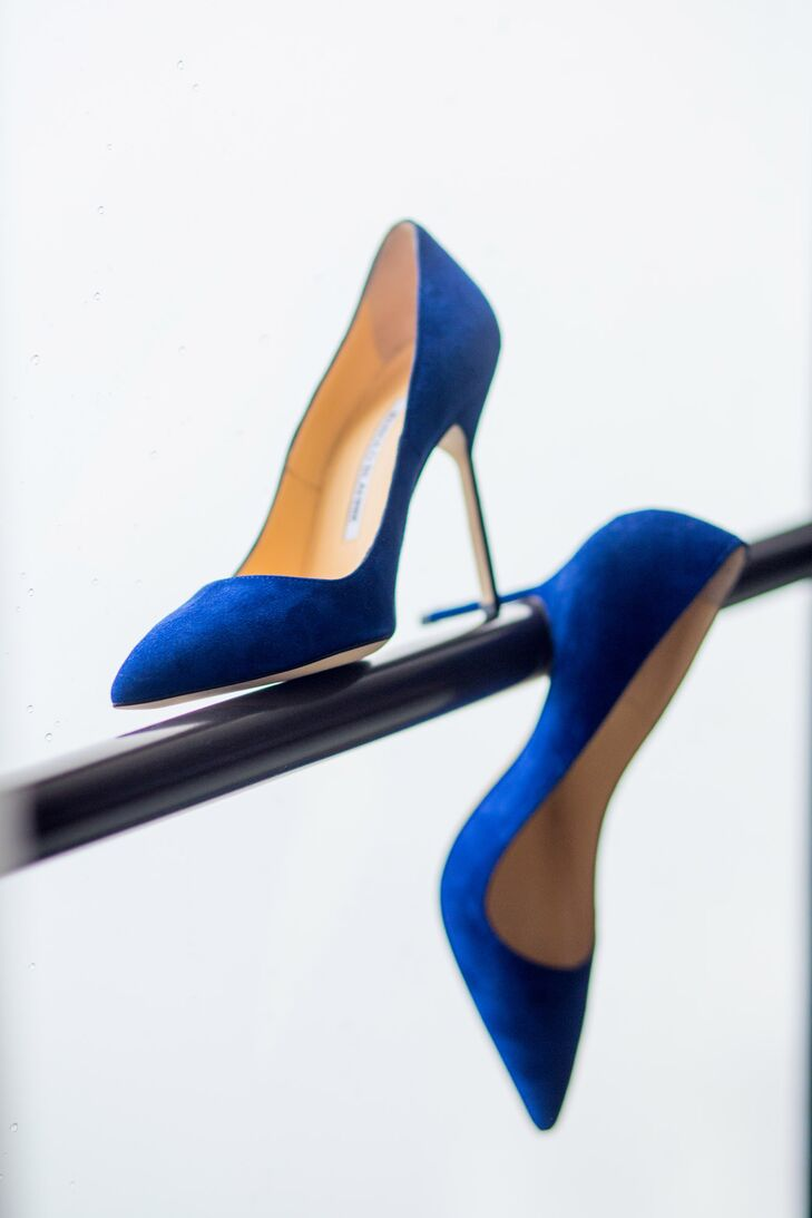 The bride found her royal blue Manolo Blahnik heels at Neiman Marcus for an added pop of color.