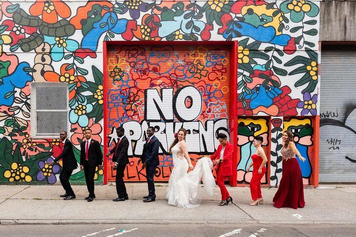 Wedding Party in Red by Brooklyn Graffiti Wall