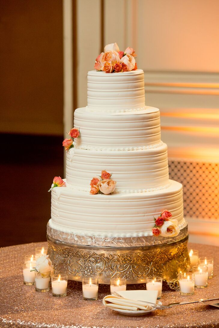 Four-Tier, White, Round Wedding Cake