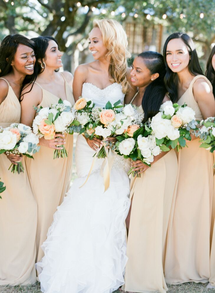 Bridesmaids in Yellow Dresses for Wedding at The Ivory Oak in Wimberley, Texas