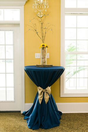 Navy Blue Cocktail Table, Rustic Centerpiece