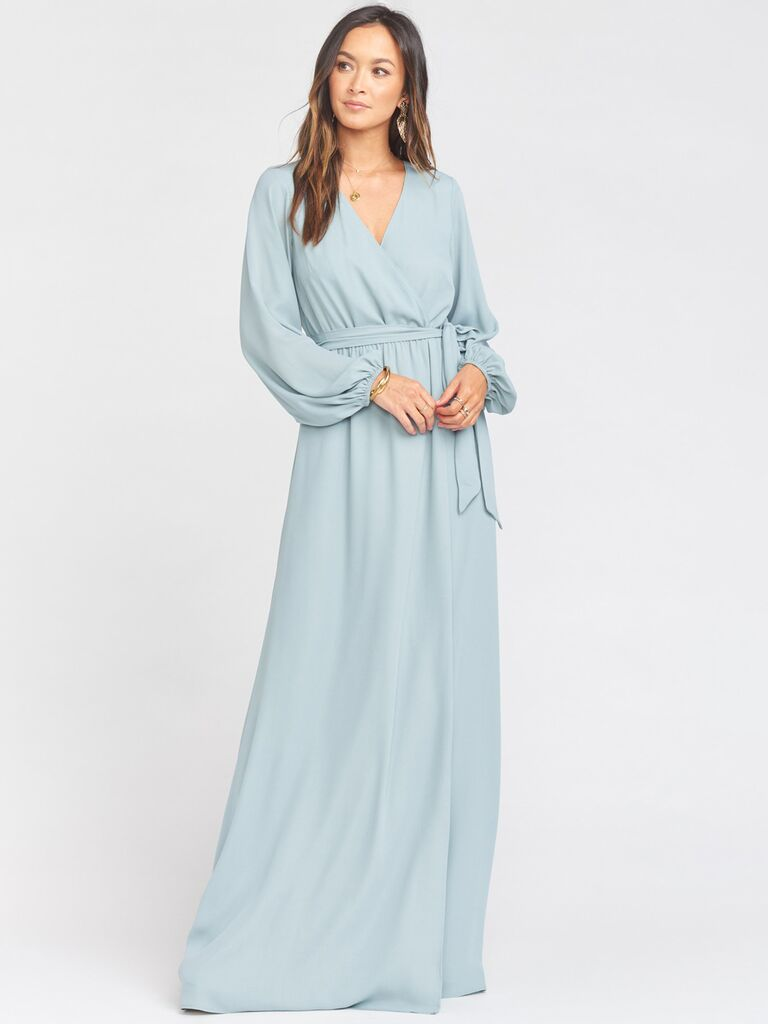 show me your mumu silver sage long sleeve winter bridesmaid dress with tie