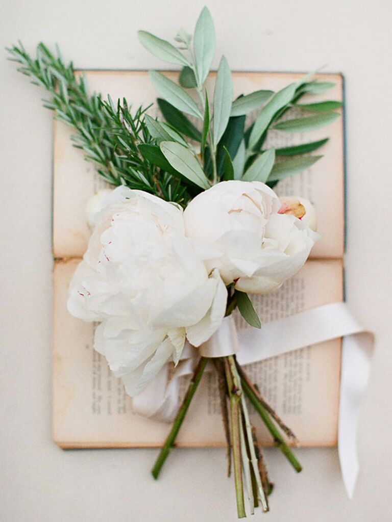 Rosemary, sage and peony wedding flowers