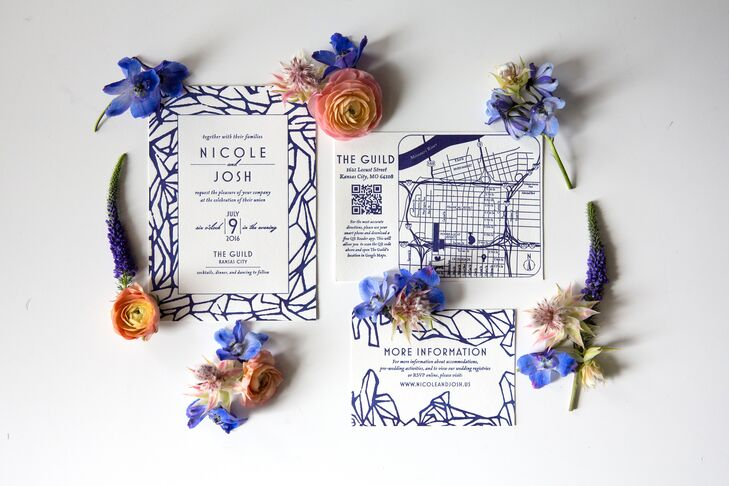 Modern Navy Geometric Wedding Invitation Suite