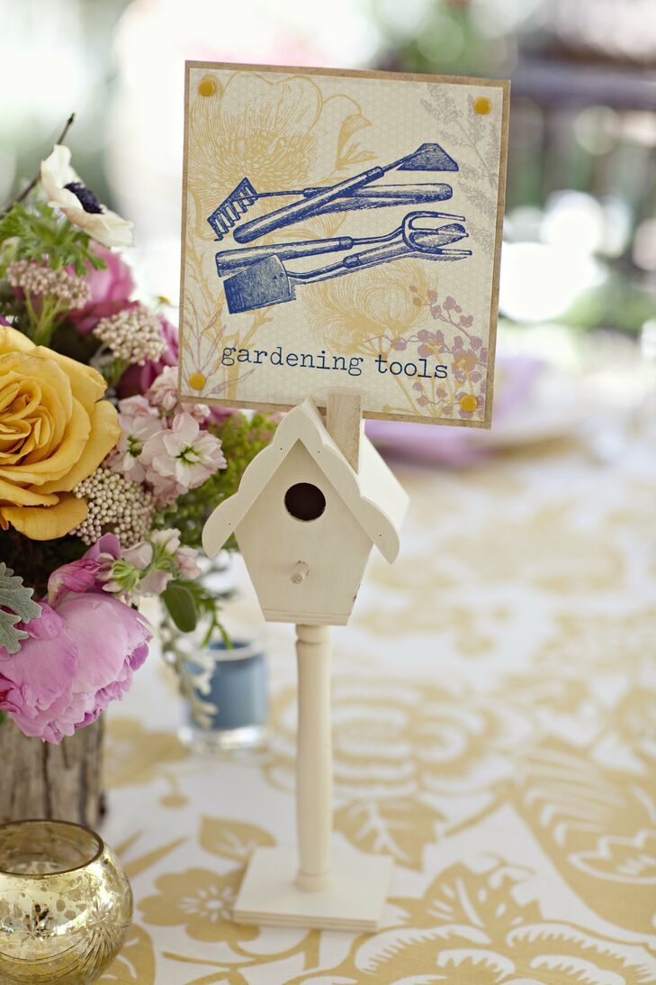 Guests matched their escort cards with the whimsically named tables.