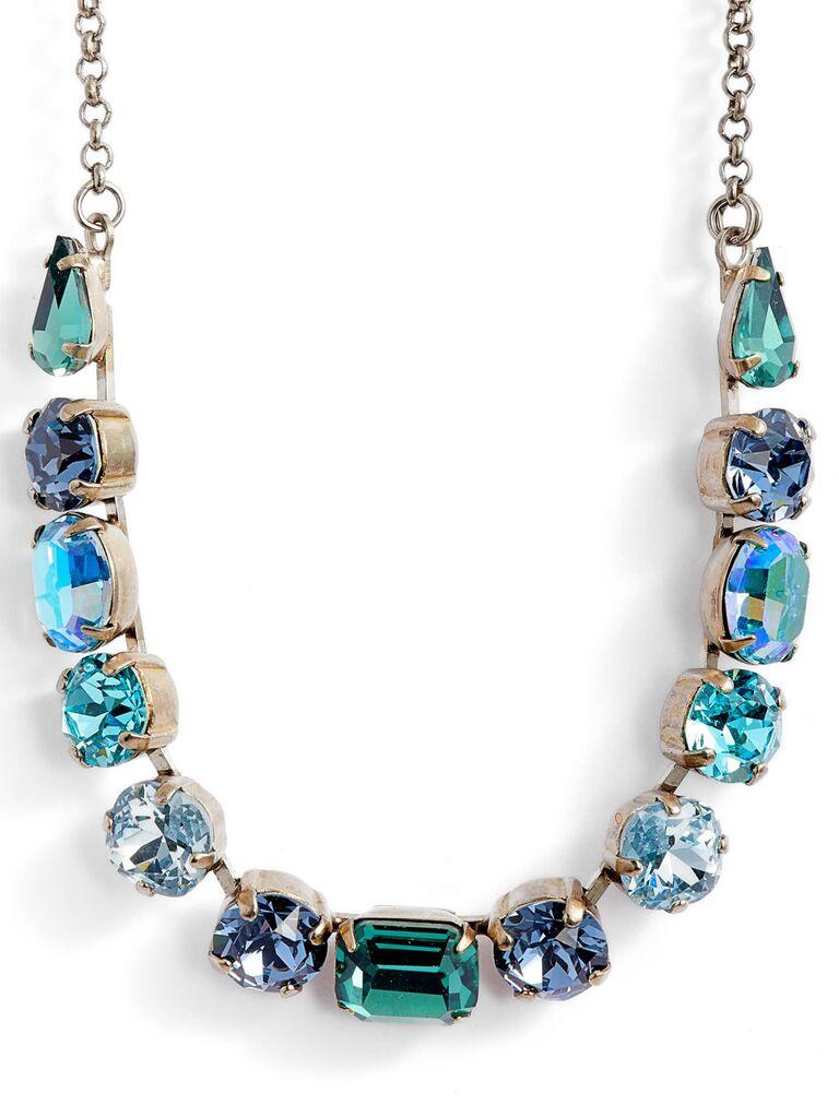Something blue statement wedding necklace