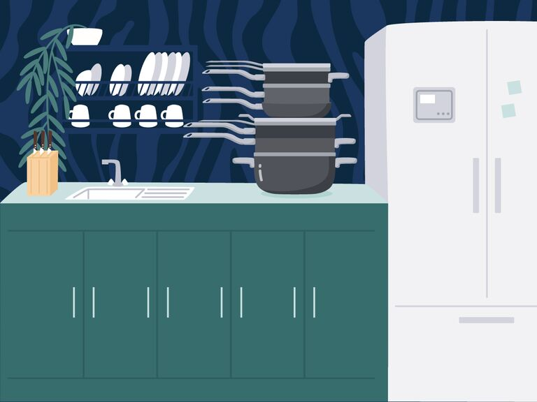 illustrated kitchen with green cabinets and stackable pots and pans on counter