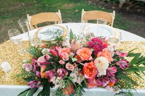 Gold Sequined Table Runner with Coral Centerpiece