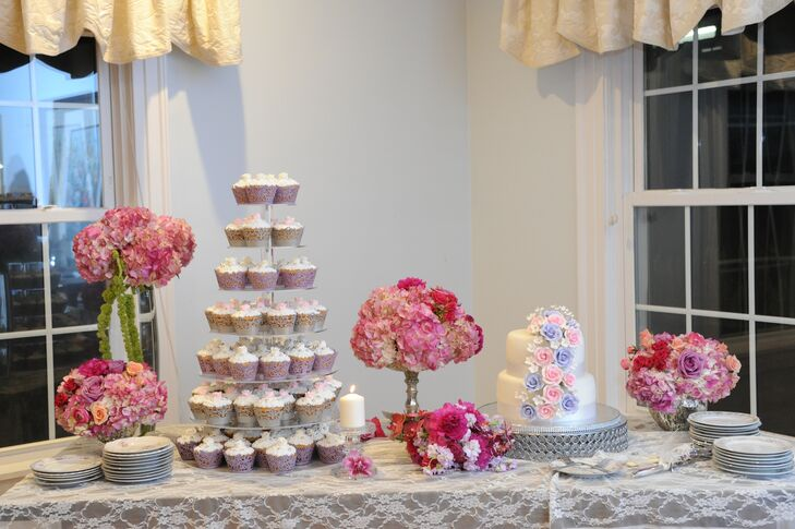 Purple and Gray Cupcake Tiers with Silver Beads