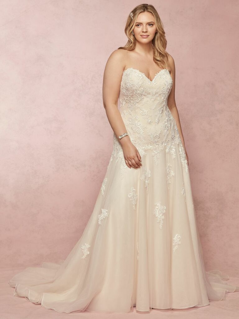Rebecca Ingram Spring 2019 strapless wedding dress with lace and beading