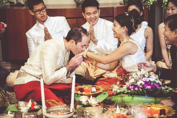The couple shared a traditional Cambodian ceremony to honor Anne-Maly's heritage.