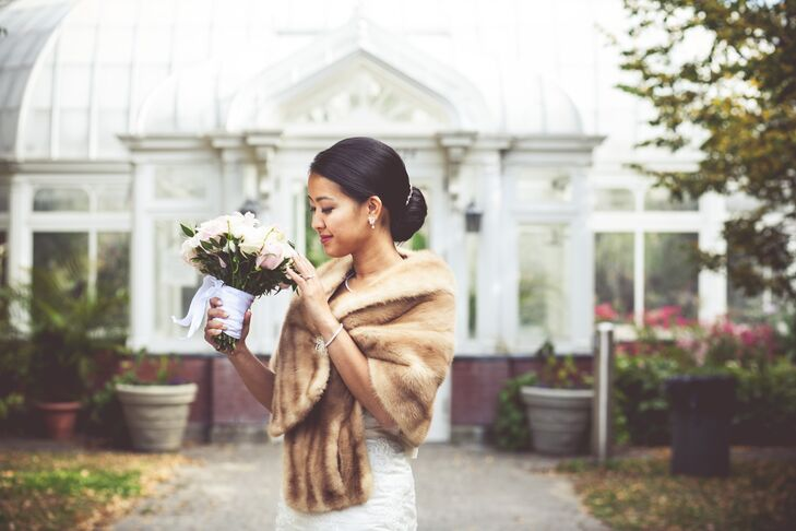 Anne-Maly accessorized her gorgeous gown with a light brown mink fur stole wrap.