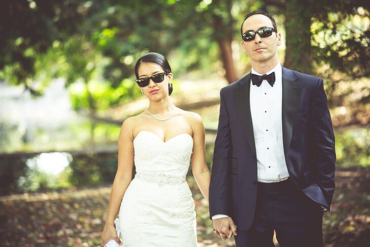 The couple posed for pictures in black sunglasses, adding to their Old Hollywood feel of their wedding.