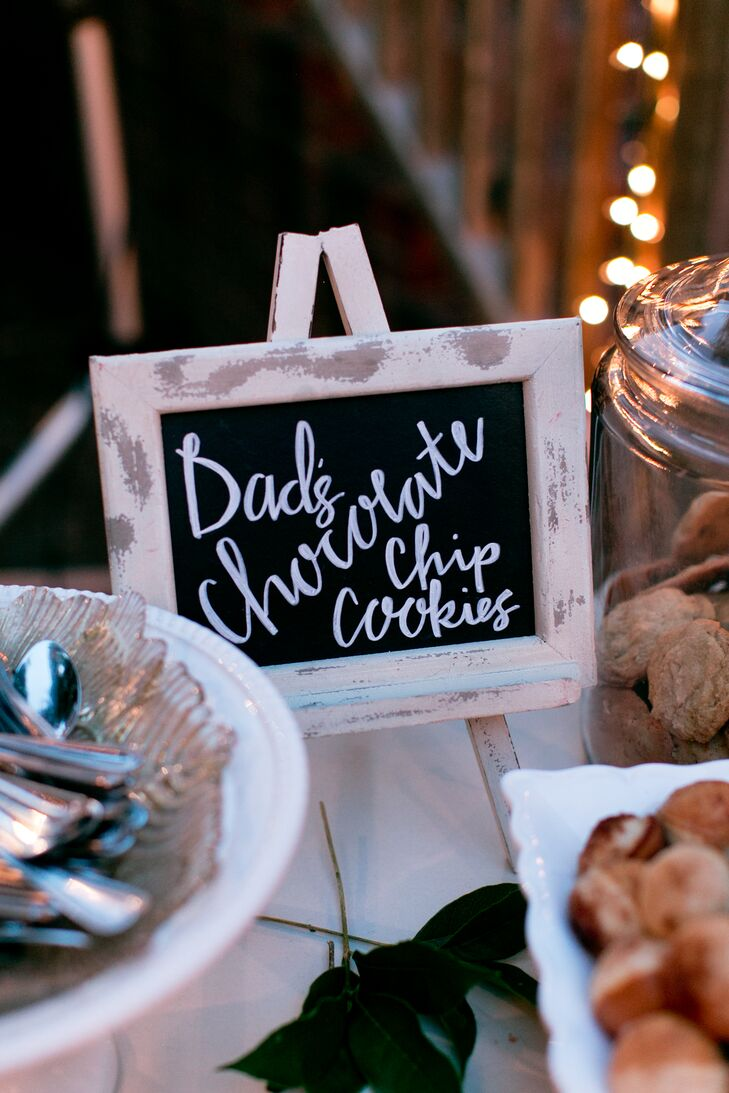 """""""My dad makes the best chocolate chip cookies, and we had to have them,"""" Jamie says  of this sweet addition to their extensive dessert bar. The couple also offered a tea and coffee bar to revive the guests after a long night of eating, drinking and dancing."""