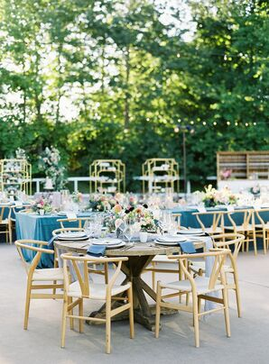 Modern Outdoor Reception with Gold Chairs at Kestrel Park in Santa Ynez, California