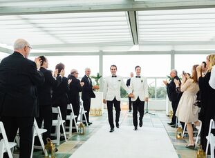 Jay Yagoda (31 and a lawyer) and Wes Pearce (27 and a marketing consultant and a real estate agent) created a retro-modern wedding for 130 at the Conf