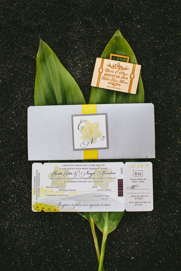 """Since it was a destination wedding, we wanted to incorporate a travel theme,"""" Charita says. The couple's 21 guests received mini-luggage save-the-date magnets as well as custom boarding pass invitations with an RSVP portion that detached – just like a real ticket!"""