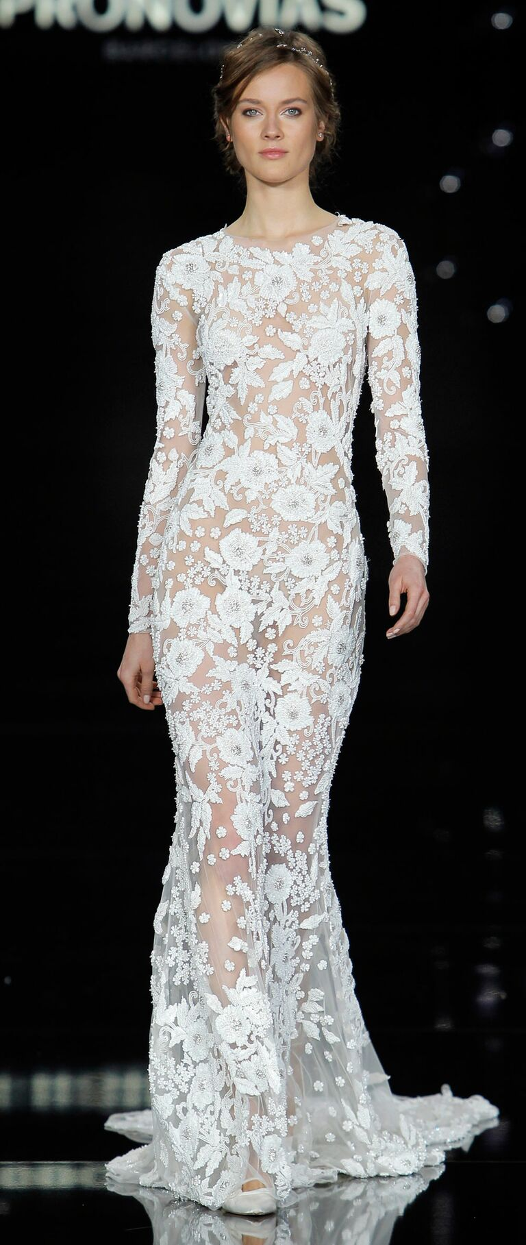 Pronovias 2017 long sleeve lace wedding dress