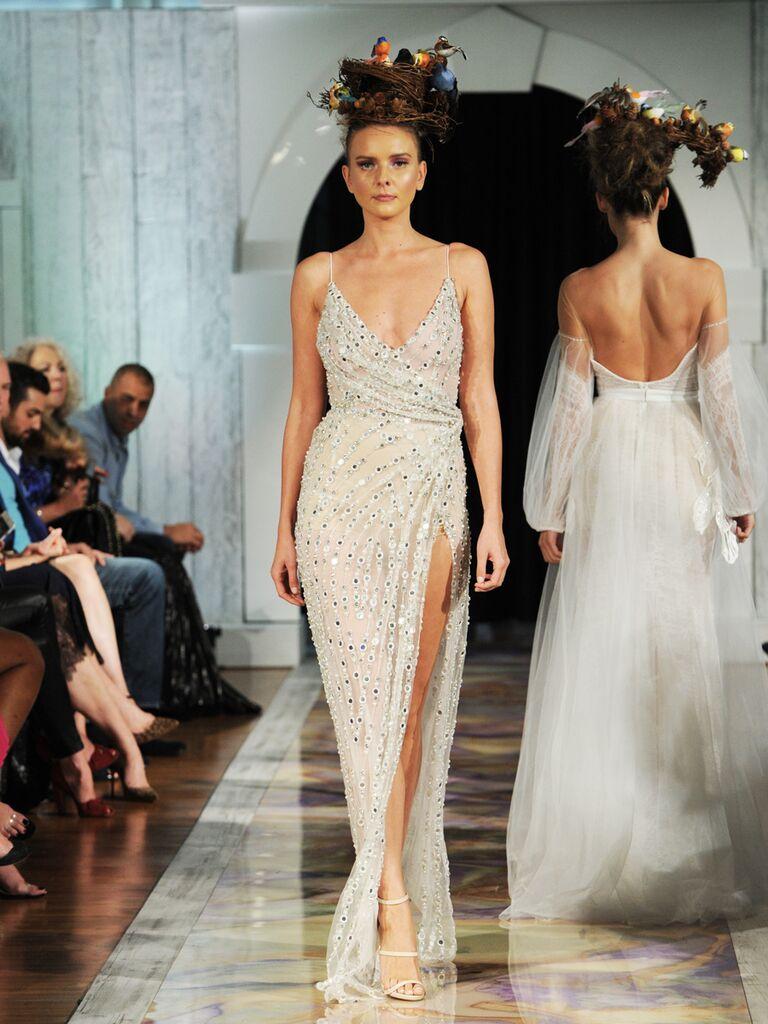 Dany Mizrachi Fall 2019 V-neck spaghetti strap wedding dress