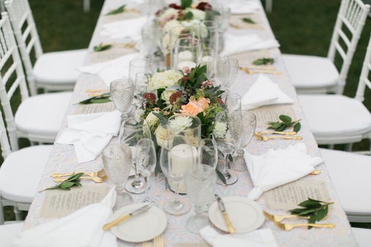 Rustic Farm Table Reception Seating with Gold Flatware