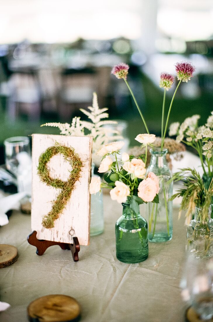 Greenery Table Number and Simple Bud Vases